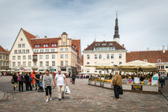 Medieval Town Hall Square of Tallinn, Estonia Royalty Free Stock Images