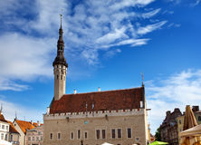Medieval Town Hall and Town Hall Square of Tallinn, the capital of Estonia. Stock Photo
