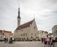 Medieval Town Hall and Town Hall Square of Tallinn, Estonia Stock Image