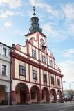 Medieval town hall in Vrchlabi stock photos