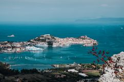 Medieval town and harbor Portoferraio, Elba island, Italy royalty free stock photo