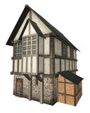 Medieval Town House Isolated on White. Stone and half-timbered European Medieval town house isolated on a white background, 3d digitally rendered illustration stock illustration