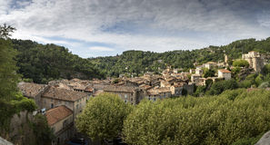 The medieval town of Largentiere, France, Panorama Shot Stock Photo