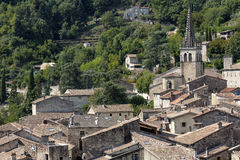 The medieval town of Largentiere, France Stock Photos