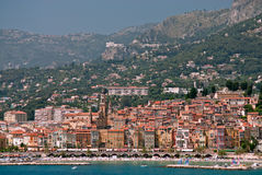 Medieval town Menton in french riviera. Panoramic view of Medieval town Menton in french riviera Stock Images