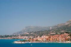 Medieval town Menton in french riviera. Panoramic view of Medieval town Menton in french riviera Stock Photos