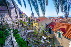 Medieval town Omis in Croatia. Marble view on small dalmatian town Omis, famous summer resort in Croatia, Europe royalty free stock image