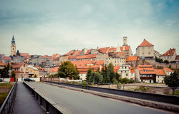 Medieval town panorama. Bystrzyca Klodzka, Poland Stock Photo