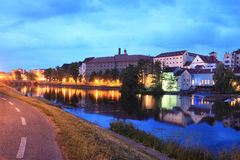 Medieval Town Pisek above the river Otava in the Night Stock Photography