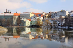 The medieval town Pisek on the river Otava Stock Image