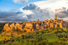 Medieval town of Pitigliano at sunset, Tuscany, Italy Royalty Free Stock Photo