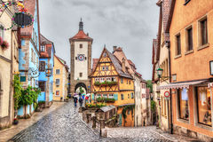 Medieval town Rothenburg ob der Tauber in rainy weather Royalty Free Stock Images