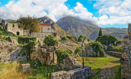 Medieval town ruins in mountains Royalty Free Stock Photo