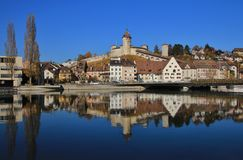 Medieval town Schaffhausen reflecting in the river Rhine Royalty Free Stock Photography