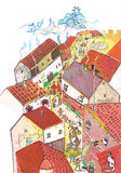 Medieval town seen from above- hand drawn color illustration, part of medieval series set Royalty Free Stock Photography