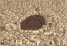 Medieval town -sepia Stock Photos