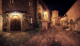 Medieval town Sorano street at night Stock Photos