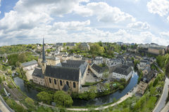 Medieval town in springtime. Old part of Luxembourg during spring time. Shot taken with a fish-eye lens Stock Images