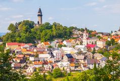 Medieval town of Stramberk with gothic castle and Truba Tower, Moravia, Czech Republic Stock Photo