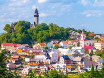 Medieval town of Stramberk with gothic castle and Truba Tower, Moravia, Czech Republic Stock Image