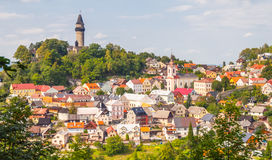 Medieval town of Stramberk with gothic castle and Truba Tower, Moravia, Czech Republic Stock Photos