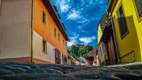 MEDIEVAL TOWN STREET - GROUND VIEW stock image