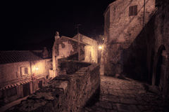 Medieval town street. At night royalty free stock images