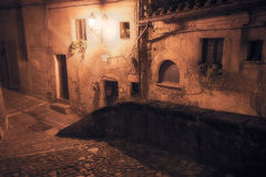 Medieval town street. At night stock photo