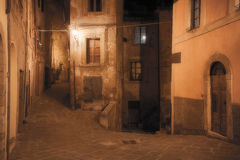 Medieval town street at night. Time royalty free stock photos