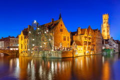 Medieval town and tower Belfort, Bruges, Belgium Stock Photo