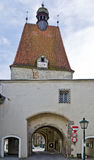"Medieval town tower in the city of Freistadt. Medieval town tower ""Linzer door"" a part of the town wall, Freistadt, Austria Stock Photo"