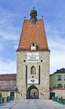 "Medieval town tower of the city of Freistadt. Medieval town tower ""Linzer door"" a part of the town wall, Freistadt, Austria Stock Images"