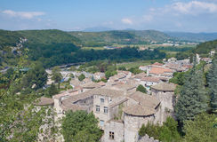 The medieval town of Vogue over the River Ardeche Royalty Free Stock Photos