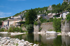 The medieval town of Vogue over the River Ardeche Stock Image