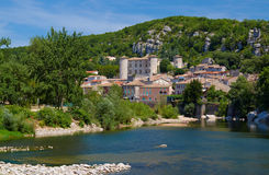 The medieval town of Vogue over the River Ardeche Royalty Free Stock Images