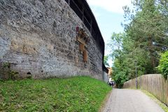 Medieval town wall in old town Kaufbeuren in Bavaria. Germany royalty free stock photos
