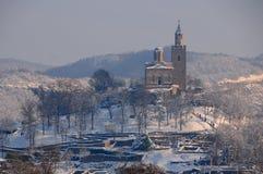 Tsarevets Citadel in the Winter stock photography
