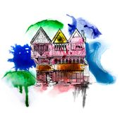 Medieval Tudor age long house in Oxford, sketch collection. Sketch with colourful water colour effects. Medieval Tudor age long house in Oxford, sketch Stock Image