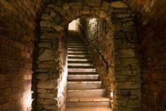 Medieval tunnel with stairs Stock Photo