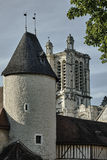 Medieval turret and tower of the Gothic cathedral Stock Photography