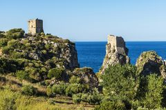 Free Medieval Turrets On The Coast In Scopello In Sicily, Italy Royalty Free Stock Photography - 110530987