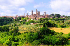 Medieval Tuscan village. Towers of San Gimignano and the Tuscan countryside, Italy Royalty Free Stock Image