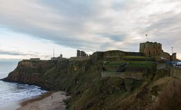 Medieval Tynemouth Priory and Castle ruins- King Edward`s Bay vi. Ruins of Medieval Tynemouth Priory and Castle- view from  King Edward`s Bay side Stock Image