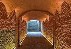 Medieval underground passage Stock Images