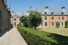 Medieval university campus. The Spanish Quarter in the medieval Louvain (Belgium) beguinage, now a university campus. Medieval houses with cobblestone streets Royalty Free Stock Photos