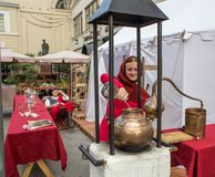 Medieval university. Science and Alchemy, XVI. Moscow, Russia - August 15, 2018: Medieval university. Science and Alchemy, XVI. People at a festival times and stock photos