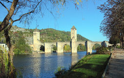 Medieval Valentre bridge in Cahors Stock Image