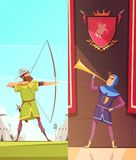 Medieval Vertical Cartoon Banners Set. With horn blower under coats of arms and archer  vector illustration Royalty Free Stock Photography