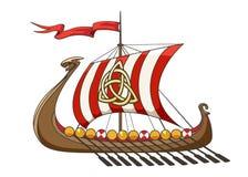 Medieval Viking Drakkar Ship. Drakkar medieval Viking Battle Ship in cartoon style. Vector Illustration Royalty Free Stock Image
