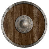 Medieval or vikings' wooden shield isolated Royalty Free Stock Photography